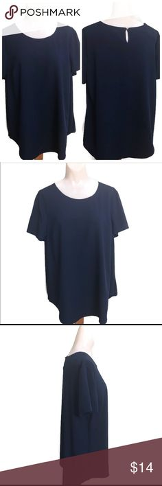 Merona dark blue blouse size XXL/TTG Slightly used, like new. No stains or holes. No snags and runs. This is not stretchable. It has a Button by the nape area. We promise to ship as soon as we can. We offer bundle shipping. We store our products in a smoke free home.gwbag2b2. Merona Tops Blouses