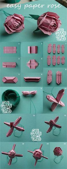 tuto origami facile pour réaliser une rose en papier composée de plusieurs pliages noués ensemble
