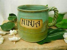 Jumbo Coffee Mug  NINJA  Geekery  Humorous  by FattyFrogPots, $18.00