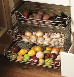 Built-In Wire Baskets for Produce | Innovative Pantry | Custom Home on Lake Park - Mueller Austin Texas Homes | Mueller Realtor | Mueller Development http://muellersilentmarket.com/