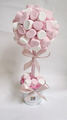 Chuches Baby Party, Baby Shower Parties, Theme Bapteme, White Marshmallows, Sweet Trees, Ballerina Party, Girl Christening, Chocolate Bouquet, Candy Bouquet