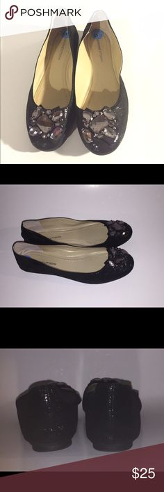 Adrienne Vittadini Black Jeweled Flats. Size 6.5 Adrienne Vittadini Black Jeweled Flats. Size 6.6. EUC Adrienne Vittadini Shoes Flats & Loafers