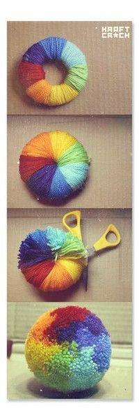 Pompoms! I soooo remember making these! Ooooo... the kids could make small and larger ones to glue together into 'birds'. I use crafting papers in the colors each child chooses (2 colors, 1/2 sheet each color) run thru a shredder to make the 'nests!' I use commercial pompoms... but this would make the project mean so much more! Can't wait!