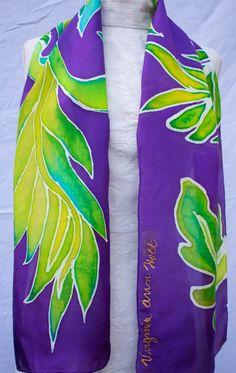 Habotai silk hand painted scarves by artist Virginia Holt