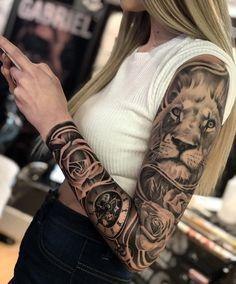 Tattoos Arm Mann, Girl Arm Tattoos, Badass Tattoos, Sexy Tattoos, Cool Tattoos, Tatoos, Unique Half Sleeve Tattoos, Best Sleeve Tattoos, Sleeve Tattoos For Women