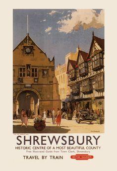 ENGLAND TRAVEL Poster SHREWSBURY Travel by EncorePrintSociety