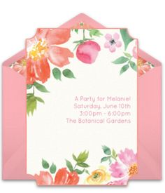 A great free Spring party invitation featuring a watercolor flower design. We love this for inviting friends to a tea party or Spring birthday party.