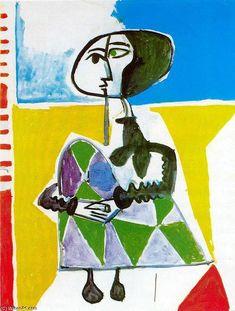 Jacqueline en cuclillas 1, óleo de Pablo Picasso (1881-1973, Spain)
