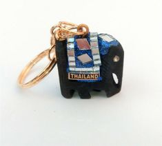 SMALL size Handmade THAILAND wooden ELEPHANT KEYRING sparkly blue