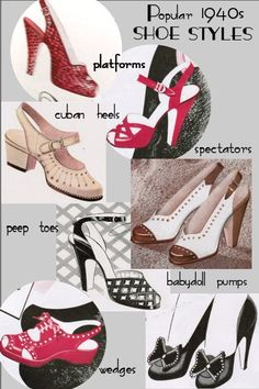 What To Look For In A New Pair Of Shoes. Photo by Thrifty Look You are not alone in your love of shoes. Who doesn't love shoes? Even in a down economy, shoes are still flying off the shelves for t 1940s Shoes, Retro Shoes, Vintage Shoes, Vintage Outfits, Vintage Wardrobe, Vintage Purses, 1940s Fashion, Vintage Fashion, Victorian Fashion