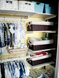 For organizing: Pretty bins for the closet