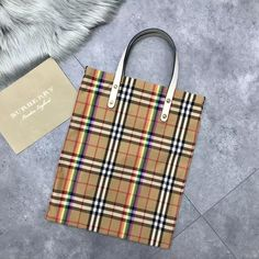 Burberry Small Shopping Tote in Rainbow Vintage Canvas and White Leather 2018