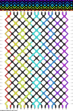 9 colors, 18 strings(1a; 1b; 8c; 1d; 1e; 2f; 2g; 1h; 1i), 26 rows #friendship #bracelet #pattern #wristband #handmade #craft #DIY #rainbow #gradient #diamonds #dots #hearts #stained #glass Pattern#88482 by Lizaveta_S