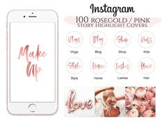 Rose Gold Pink Instagram Highlight Covers, Highlight Icons, Instagram story, highlight icon covers, Paris Party, Pink Highlights, Story Highlights, Pink Instagram, Instagram Story, Mascara, Pink Story, Minimal, Ootd