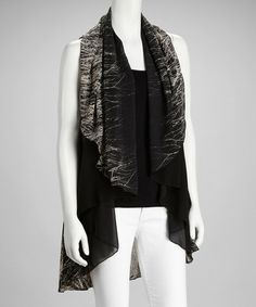 Take a look at this Black & White Grass Four-Way Vest by Adore on #zulily today!...Kinda sorta