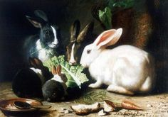 Happy Rabbits family paint by the Dutch artist Bernhard te Gempt (1826-1879) - Style:Realism