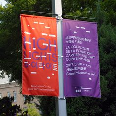 Visual identity and banners by Studio fnt for South Korean art exhibition Highlights at SeMA Exhibition Banners, Exhibition Plan, Museum Exhibition Design, Exhibition Stands, Web Banner Design, Flag Design, Ci Design, Stand Design, Pattern Design
