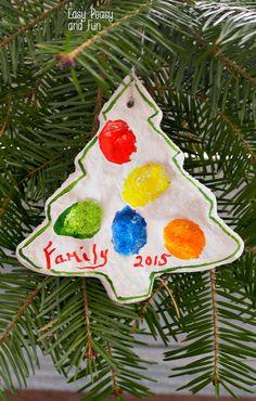 Fingerprint Christmas Tree Salt Dough Ornament - Easy Peasy and Fun