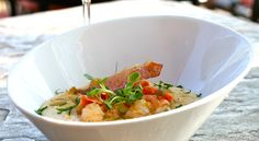 Lemon-Garlic Green Chili Shrimp, White Cheddar Grits, Candied Prosciutto, Radish Sprouts