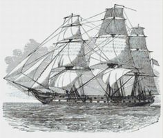 Frigate USS Constitution Counted Cross Stitch Chart, For Man Cave, Sailing Ship Instant Download Cross Stitch Pattern, Embroidery Pattern