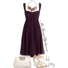 A fashion look from August 2014 featuring purple dress, silver sandals and purse. Browse and shop related looks.