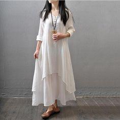Rochie maxi de dama, lunga, cu maneci lungi si decolteu in V, croiala ampla, lejera, din olanda, in doua straturi