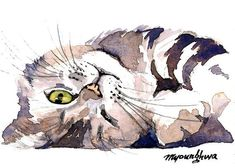 ACEO Limited Edition CeeCee's cutest moment, Cat art print of an original watercolor, Gift idea for cat lovers Watercolor Cat, Watercolor Animals, Watercolor Paintings, Animal Paintings, Animal Drawings, Cat Art Print, Art Et Illustration, Cat Drawing, Pet Portraits