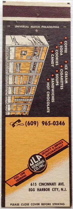 JLP Vending Co. #matchbook - To design & order your business' own logo #matches GoTo: GetMatches.com #phillumeny