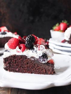 Simple, yet decadent, this super easy vegan chocolate cake recipe is guaranteed to become your new go-to. Feel free to change up the fruit seasonally!