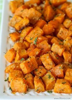 Baked Parmesan Sweet Potatoes - my new favorite side dish recipe. Takes minutes to make and tastes AMAZING!!