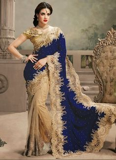 Royal Blue With Brown Embroidery Work Saree  http://www.angelnx.com/Sarees