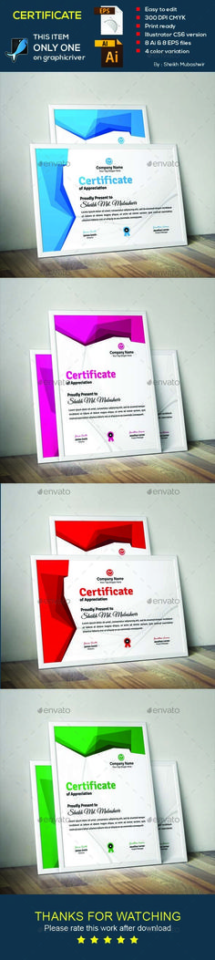#Certificate - Certificates #Stationery Download here: https://graphicriver.net/item/certificate/18937968?ref=alena994