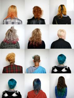 Art student hair typology. I believe the best typologies include very different colours and differences to draw your eye. i don't like those that are very similar images the whole way through