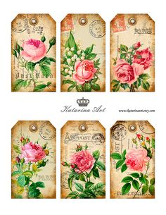 Shabby Roses Tags - printable