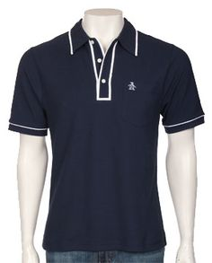 The Earl Pique Polo Shirt - Total Eclipse knit short sleeve shirts Original Penguin Clothing