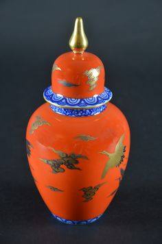 Japanese Fukagawa Imperial Fine China Porcelain Ginger Jar Red-Crowned Crane