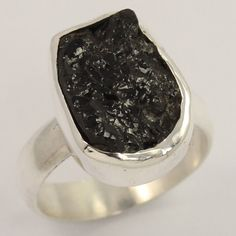 Natural BLACK TOURMALINE Gemstone 925 Sterling Silver Jewelry Ring Size US 5.75 #Unbranded