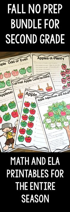 Fall No Prep Bundle for Second Grade is full of no prep printables for the season! Apples, pumpkins, Halloween, Labor Day and Thanksgiving, it's all here! Cover time, parts of speech, reading comprehension, two digit addition and subtraction, time and SO much more. This unit is geared towards 2nd graders, but can also be used for talented first graders or third graders who may be struggling a bit.