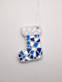 Mosaic Christmas Ornament, Stocking, Blue, Handmade Stained Glass Mosaic Ornament by GreenBananaMosaicCo  $20.00