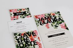 floral wedding invitations leaves greenery natural pink red marsala purple petals modern black contrast chic gam wedding stationery australia adelaide perth melbourne sydney sail and swan
