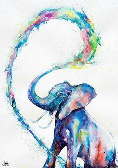 Marc Allante Elephant Art Poster New - Maxi Size 36 x 24 Inch Watercolor Animals, Watercolor Art, Elephant Watercolor, Watercolor Tattoos, Arte Inspo, Art Aquarelle, Wow Art, Illustration, Art Mural