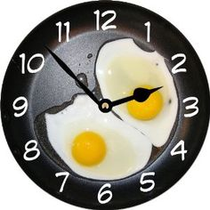 Rikki KnightTM Eggs in Frying Pan Art Large 11.4 Wall Clock