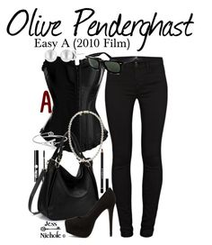 Easy A (2010 Film): Olive Pendergast by jess-nichole on Polyvore featuring polyvore fashion style J Brand Nly Shoes Mikimoto Ray-Ban Charlotte Russe Givenchy clothing