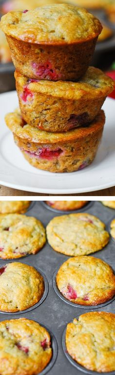 Strawberry banana bread muffins. Only 1/3 cup butter (and 1/3 cup Greek yogurt) used to make 12 regular size muffins. Greek yogurt creates a rich texture and reduces the amount of saturated fats used! #healthy #low_fat #recipes