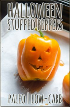 A fun holiday meal, these Halloween stuffed peppers will be a treat for the whole family! Stuff with whatever meat and seasoning you want and enjoy. Paleo, low-carb, Whole30. #halloween #lowcarb Paleo Fall Recipes, Diet Dinner Recipes, Whole30 Recipes, Veggie Recipes, Low Carb Recipes, Real Food Recipes, Holiday Recipes, Diet Recipes, Cooking Chicken To Shred