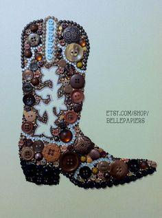 Button Art, Cowboy Boot Southwestern Art, Button and Swarovski Art Button Boot