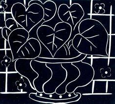 Pot de Begonie, Linocut, Henri Matisse,Bibliotheque Nationale, Paris, 1941-1942.