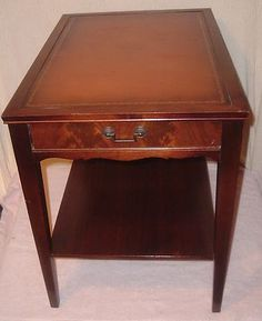 Retro Leather Top Living Room Side Table Mahogany Leather Top End