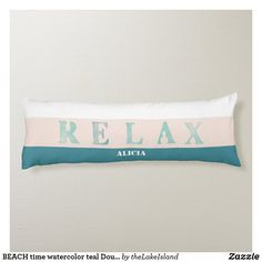 BEACH time watercolor teal Double sided Body Pillow