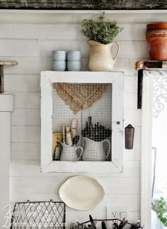 Repurposed Wooden Crate and Frame into DIY Primitive Cupboard  ~~via Knick of Time